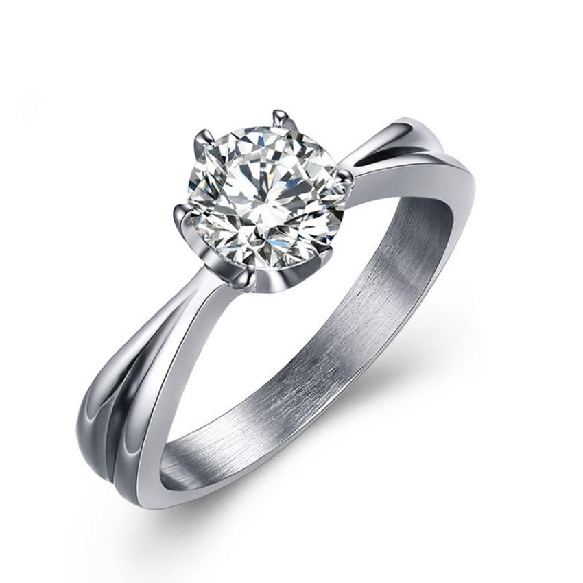 Classic Six Claw 1 Carat 6mm Cz Zircon Wedding Rings For Women