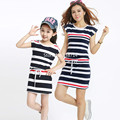 Authentic Mother Daughter Dresses 2017 Striped Dress for Girls and Women Summer Cotton Dress Girls Vestidos Family Clothing