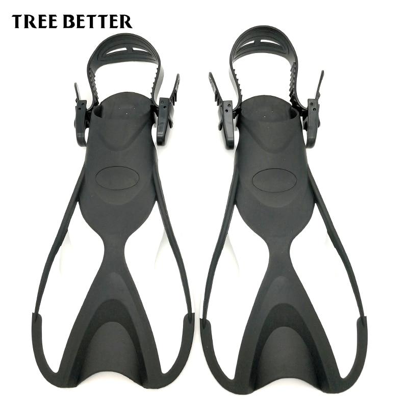 Aletas de natación ajustables para niños Flipper corto buceo aletas de silicona portátil cómodo natación aletas niños tamaño 24-35