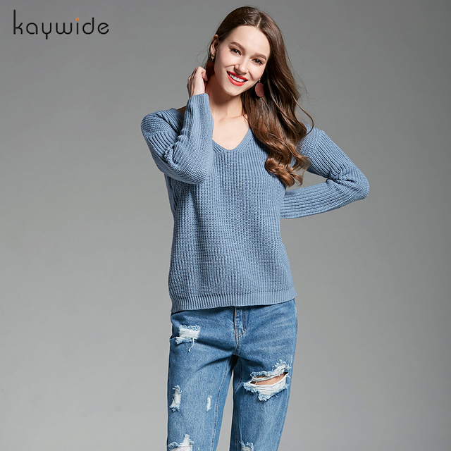 Kaywide Fashion European and American Style Deep V-Neck Women Sweater Knit  Sweater Back Lace Up Wear Rope Sexy Lady Sweaterwear 6fcd5961c