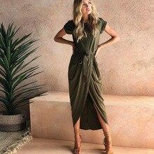 Women Summer Open Solid Color Dress irregular Short Sleeve Slim Casual Party Beach