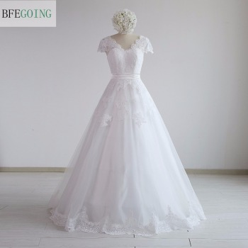 White Lace V-Neck A-line Wedding Dress Floor -Length Sweep Train Cap Sleeves  Bridal Gown Custom Made