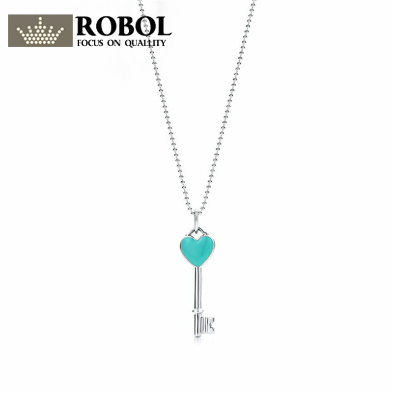 ROBOBL Tiff Luxury Brand 100% 925 Sterling Silver Heart-shaped Pendant Key Necklace Glamorous Jewelry Womens WholesaleROBOBL Tiff Luxury Brand 100% 925 Sterling Silver Heart-shaped Pendant Key Necklace Glamorous Jewelry Womens Wholesale
