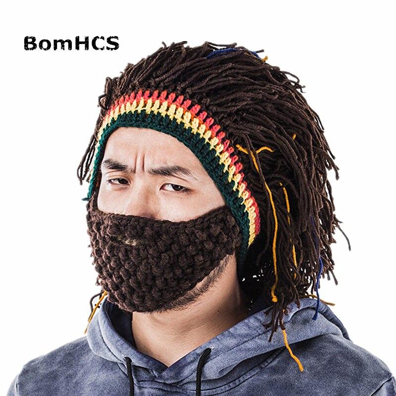 BomHCS Funny Men's Winter Warm Cap Riding Mask Beanie Handmade Knitted Hat Present Gift
