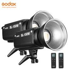 2 قطعة Godox SL 150W 150WS 5600K الأبيض نسخة لوحة ال سي دي LED الفيديو الضوئي الناتج المستمر بونز جبل إضاءة الاستوديو