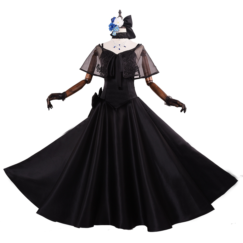 Cartoon Dressing Gown: 100%real Black Dress With Cloak Cosplay Embroidery Gown