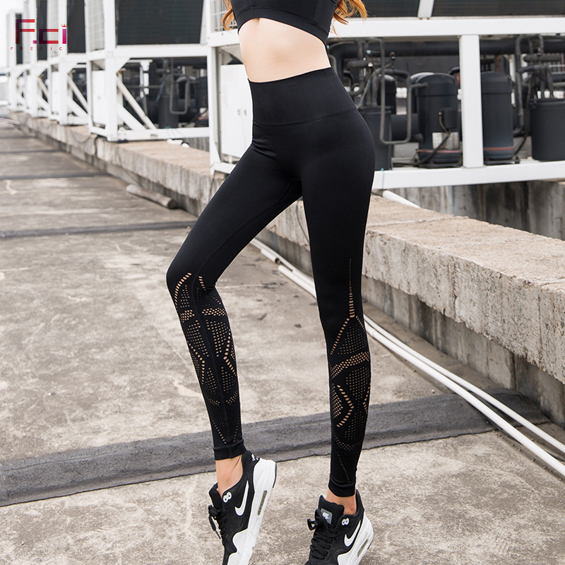 f8e12cd124 FRECICI Women Energy Gym Seamless Leggings High Waist Push Up Seamless Pants  Tummy Control Workout Leggings Hollow Out Black | ShopJZYWomens