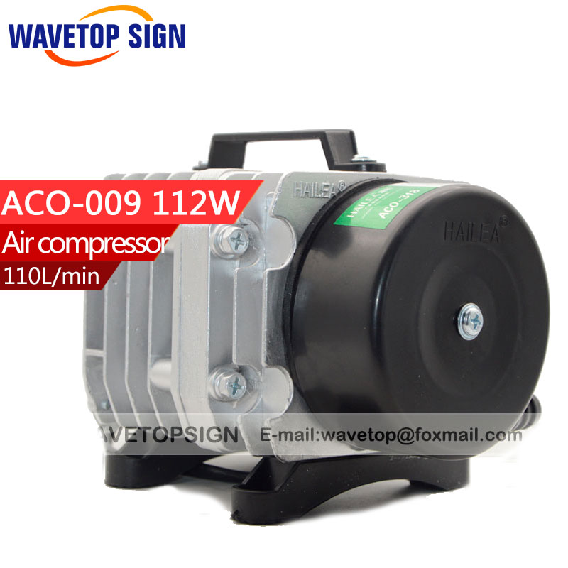 112W  Air Compressor Electrical Magnetic Air Pump for CO2 Laser Engraving Cutting Machine ACO- 009 flight case pack mini confetti machine air compressor electrical control 20kg air charging piston reciprocating compressor 220v