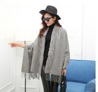 ZDFURS 2017 Fashion Multifunction Magic Lady Winter Shawls Scarf With Real Genuine Rabbit Fur Collar Pashmina