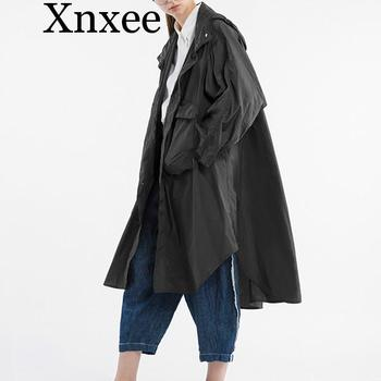 Xnxee Original Design Autumn 2019 new arrivals loose hooded outwear women oversized casual trench coat long