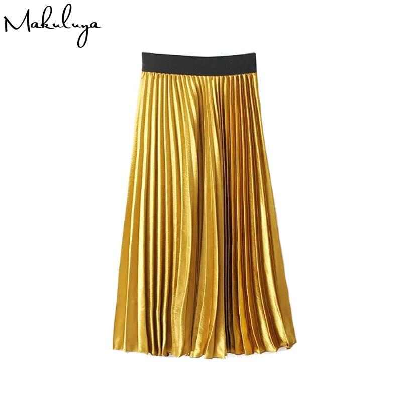 Makuluya Modern metal color glossy fashion womens pure color high waist pleated skirt Metallic color A-line Gold skirt QW