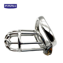FRRK Extra long plum style Chastity cage 304 Devices Stainless Steel Cock Cage For Men Metal Belt Penis Ring Lock