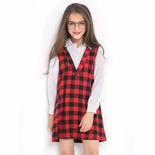 Girls plaid dress for teen 6 8 10 12 14 16 years full sleeve cotton college style real shot model lossen shirt dresses