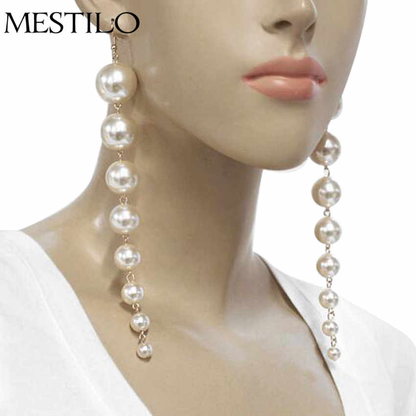 MESTILO Simple Trendy Simuplated Pearl Long Earrings For Women Temperament Fashion Summer Drop Earrings Anniversary Gifts Korean