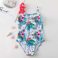 3~8Years Girls swimwear NEW 2019 Girl swimwear Floral design Children swimwear Summer Kids swimsuit for Girls Beach wear-ST150 cheap One Pieces Polyester Print Fits true to size take your normal size XABER KIN 3 4 5 6 7 8Years girl