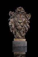 Подпись оригинальный популярный литой латуни волки головы Dire волк бюст Скульптура статуя Книги по искусству украшения сада 100% натуральная