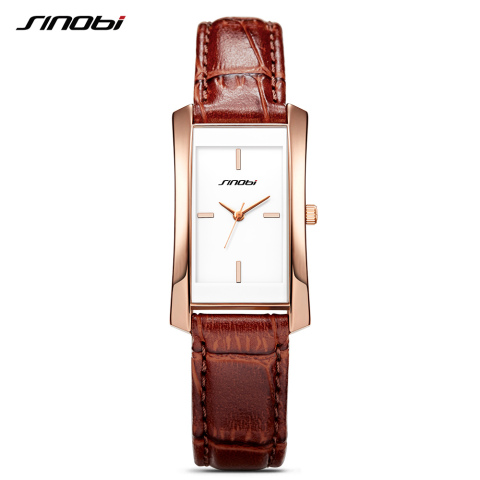 Sinobi Couple Watches Wedding Gift Noble Rose Gold Rectangle Wristwatch Brown Strap Men Women Analog Quartz Lovers Watch Fashion Lahore