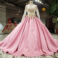 Saudi Arabic Pink Embroidery Prom Dresses Full Sleeves 2018 Long Prom Gowns Pearls Bow Open Back Plus Size Formal Dress