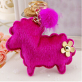 Korean sheep/goat  pelliccia faux rabbit fur ball flower  keychain/new 2015 luxury llavero cuero  keyrings/chaveiro//fourrure