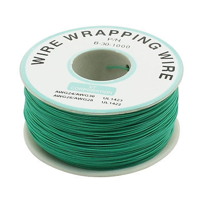 200M 30AWG Tin Plated Copper Wire Insulation Test Wrapping Cable Roll Green new 30awg 0 25mm tin plated copper wire wrapping insulation test cable 8 colored wrap reel tin plated copper plastic