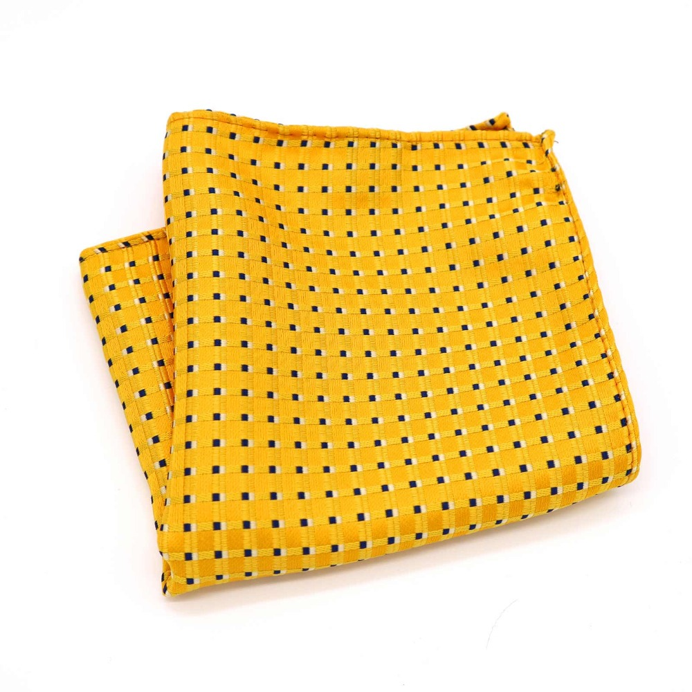 F215 Classic Men's Silk Handkerchief Hanky Jacquard Woven Yellow Black Polka Dot Pocket Square 25*25cm Wedding Party Chest Towel