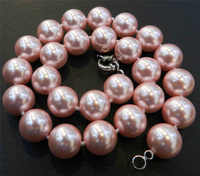"""FREE SHIPPINGLovely 16mm Pink South Sea Shell Pearl Necklace 18"""" AAA"""