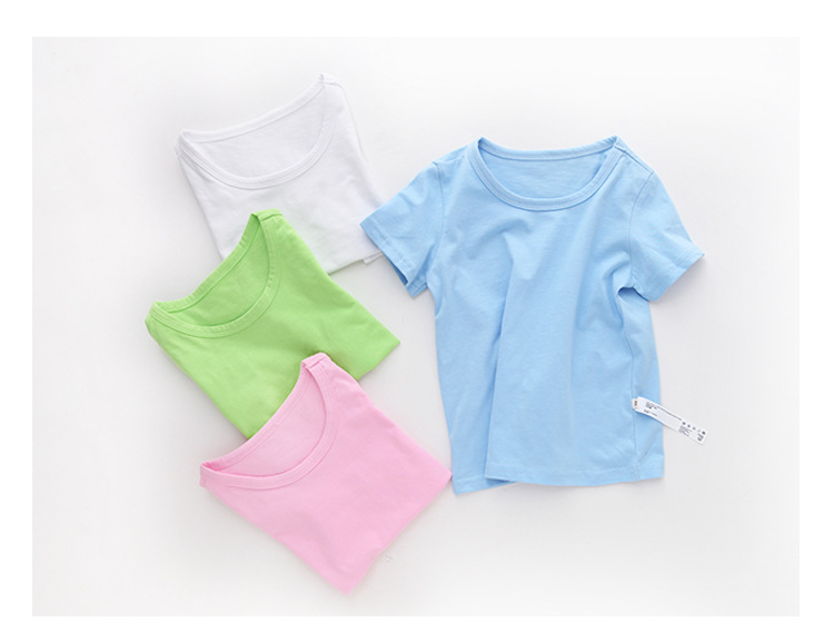VIDMID Kids T-shirt Tops Baby Boy Cotton Short Sleeve Tops girls Children Cartoon basic color clothes boys girls tees 4018 29 5