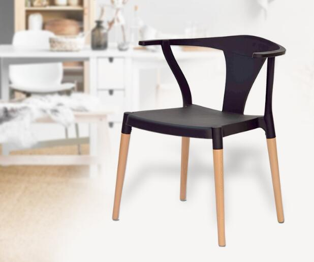 YINGYI Free Shipping Modern Plastic Dining Chair Without Arms White Black Color