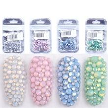 Опаловые цвета, 400 шт, разные размеры, ss4-ss12, не исправляемые, Хрустальные Стразы для ногтей, с плоским основанием, для дизайна ногтей, сделай сам, для изготовления ювелирных изделий, одежды