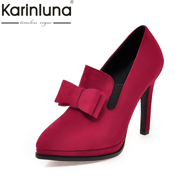 Karinluna Large Size 34-43 Pointed Toe Slip On Bowtie Spring Pumps Women Shoes Sexy High Heels Party Wedding Shoes Woman gullick sexy blade heels bowtie pumps pointed toe white leather wedding dress shoes for women cut out slip on spring shoes