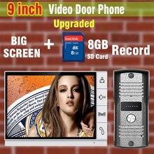 Upgraded Version 9 Inch Big Screen 8GB SD Card Video Record Door Phone Intercom System Doorbell