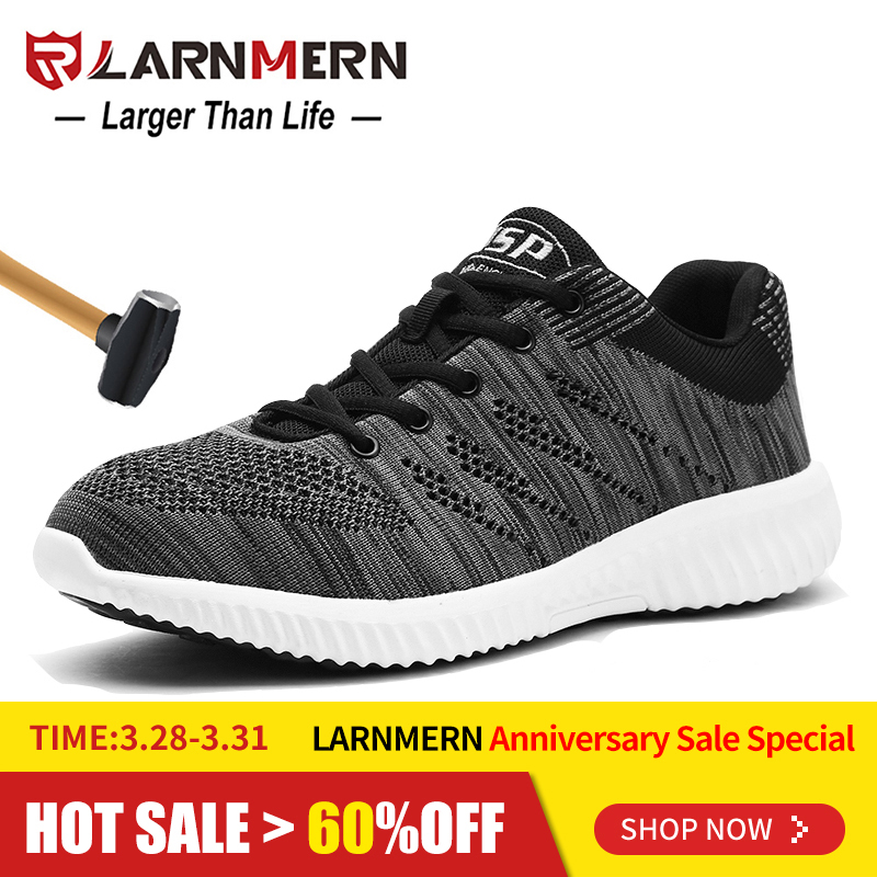 6433ff2b16e LARNMERN Mens Steel Toe Safety Work Shoes For Men Flyknit ...