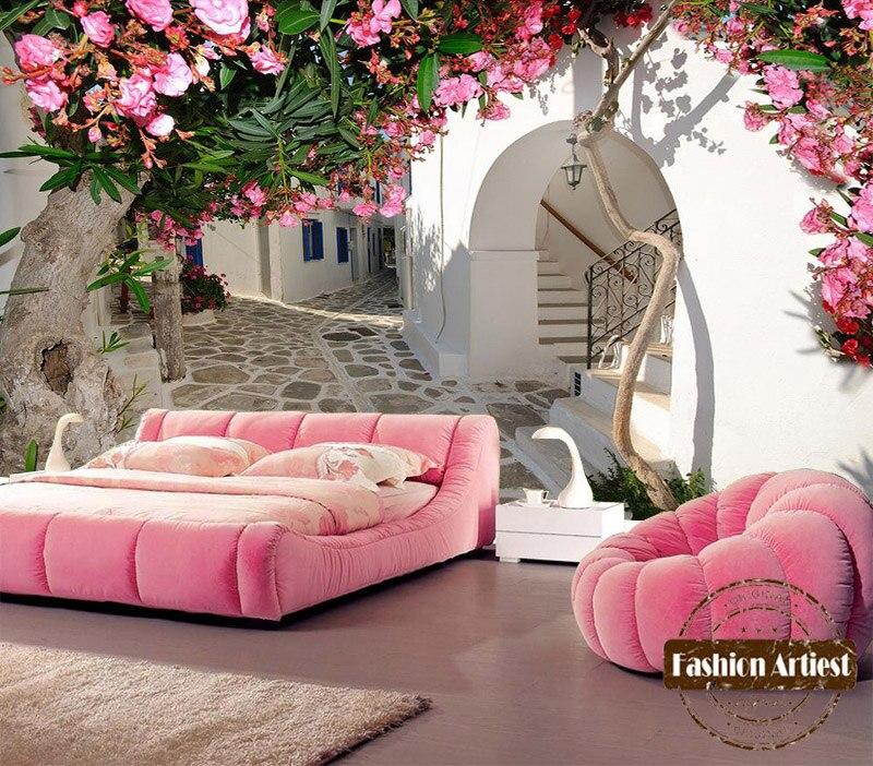 Пользовательские 3d стенная роспись ФЛОРИСТИЧЕСКИЕ обои средиземноморские летние цветы Европа город ТВ диван спальня гостиная кафе фон