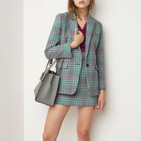 Women Green Classic Plaid Long Sleeve Single Button Suit Coat and Zipper Fly Mini Skirt Suit Female Office Lady Set