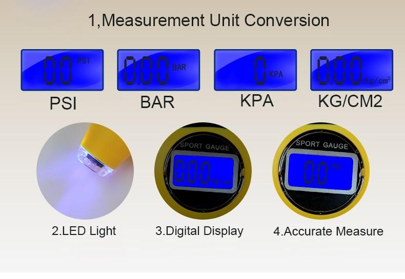 Digital Tire Pressure Gauge - 3 Measuring Units
