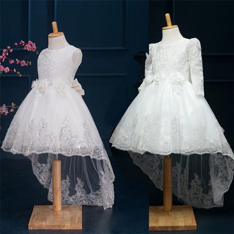 2016 nouveau parti mariage fleur dentelle robe pour filles hiver manches longues bébé vêtements princesse Costume Party enfants robes pour filles