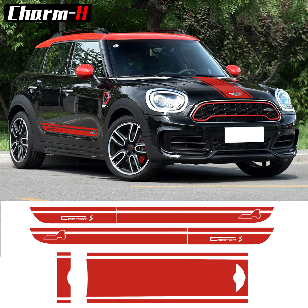 For BMW Mini Cooper S All4 Graphic Decal Countryman F60 2017-Present Hood Trunk Bonnet Rear Door Side Stripes Decal Stickers набор приспособлений для обслуживания грм двигателя bmw n12 mini cooper jonnesway al010079