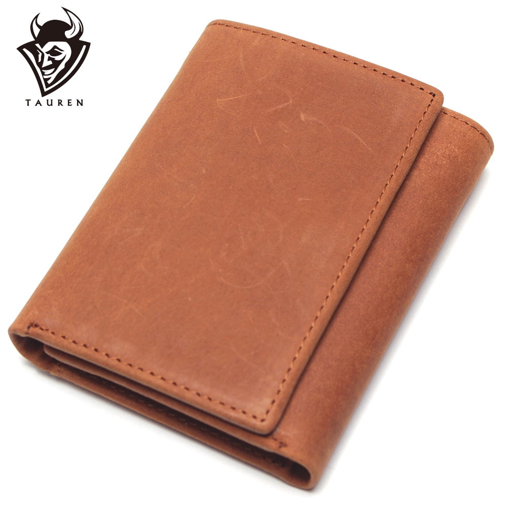 RFID Antitheft Scanning Crazy Horse Leather Wallet Hasp Leisure Men's Slim Leather Mini Wallet Case Credit Card Trifold Purse