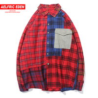 Aelfric Eden Casual Slim Fit Male Shirt Gothic Red Plaid Casual Streetwear 2018 New Design Color Patchwork Harajuku Shirts UR34