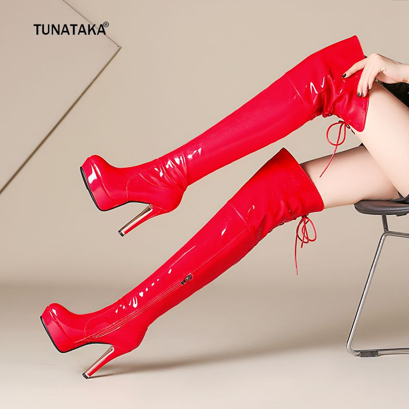 Top Patent Leather Sexy Thigh High Heel Boots Winter Women Over the Knee Boots Plus Size Zipper Shoes Platform Lace Up Red Black moonight cheap red overbust sexy corset top lace up corsets and bustiers plus size