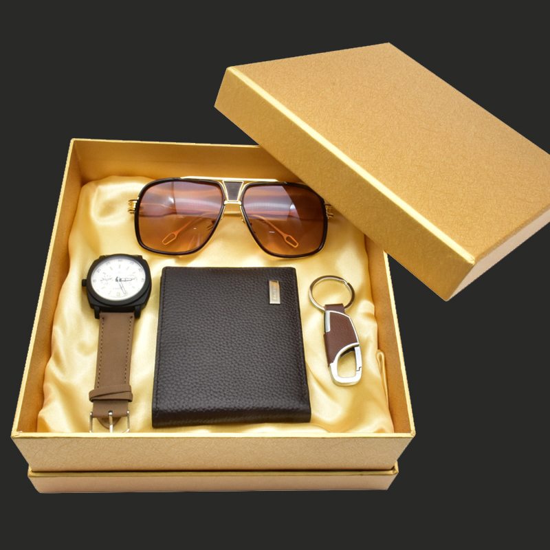 2018 Mens Watch Gifts Set Sunglasses Leather Wallet Watch Set For Father Valentines Day New Year Gift Quartz Wrist Watch