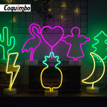 Rainbow Led Neon Sign Light Holiday Xmas Party Wedding Decorations Kids Room Home Decor Flamingo Moon Unicorn Heart(China)