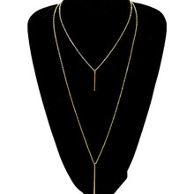 Simple Metal Bar Long Chain Necklace Pendants Women Double Layered Clavicle Statement Necklaces adjustable bar layered wrap necklace