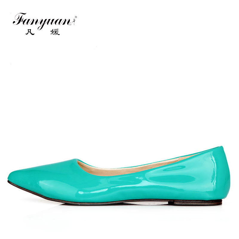 Fanyuan Casual Women Ladies Flat Candy 6 Color Patent Leather Flat Shoes Women Pointed Toe Flat Free Shipping Plus Size 30-49 sweet women high quality bowtie pointed toe flock flat shoes women casual summer ladies slip on casual zapatos mujer bt123