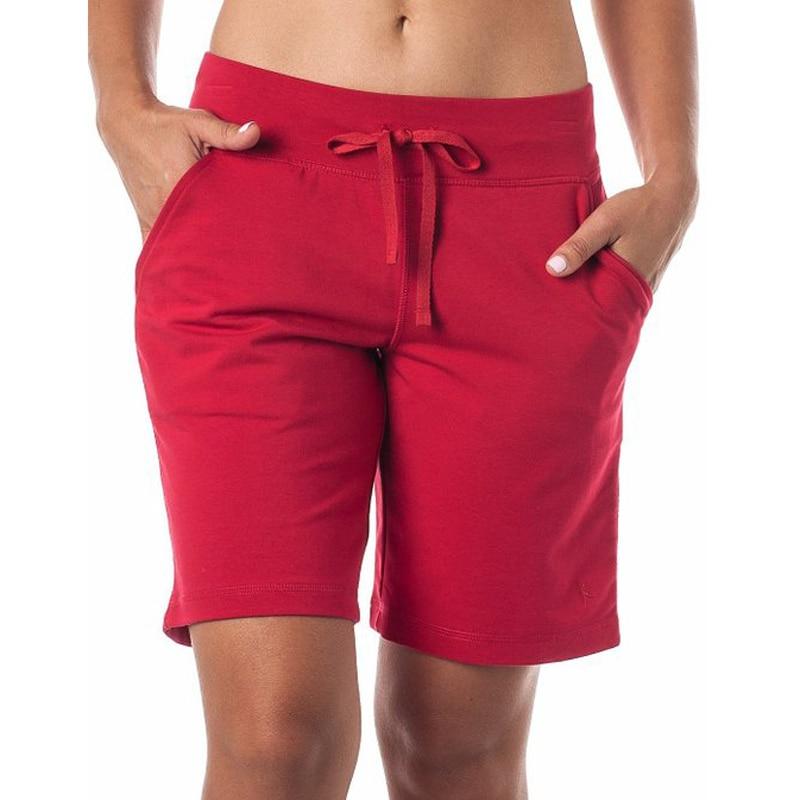 Elastic Waist Cotton Casual Shorts Women 2017 Summer Female Fashion Cotton Shorts With Belt Plus ...