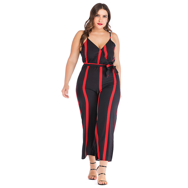 Striped Jumpsuit Mono Largo Xxxxl Plus Size Bandage Sleeveless Office <font><b>4xl</b></font> <font><b>Mujer</b></font> <font><b>Pantalon</b></font> Largo 2019 Women OL Salopette Femme image