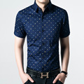2017 new 100% cotton Mens short sleeved shirt slim fit summer business casual dress Polka Dot shirts for men large size