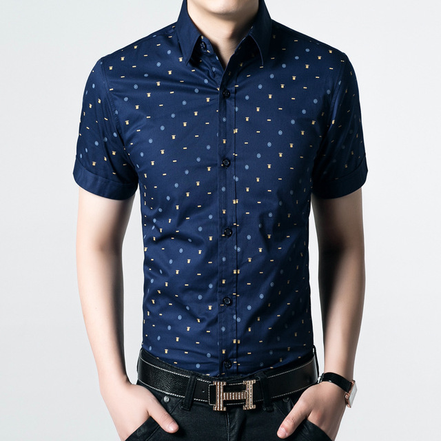 8c1adfdef21d 2017 new 100% cotton Mens short sleeved shirt slim fit summer business  casual dress Polka Dot shirts for men large size