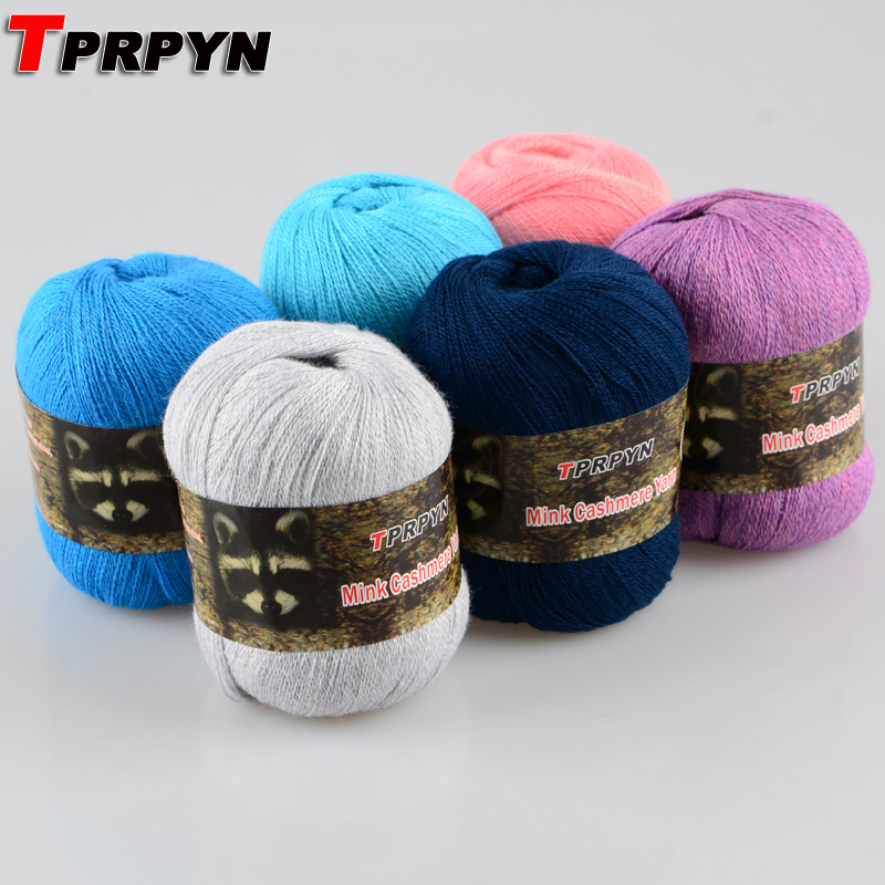 TPRPYN 1Pc=50g Mink Cashmere 98% Pashm 2% Yarn For Hand Knitting Mink Baby Thin Wool Knitting Tape Yarn Thread Y3223174