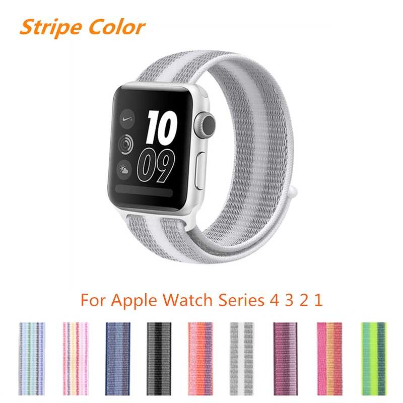 40mm 44mm 38mm 42mm band for apple watch series 4 stripe woven nylon band strap for iWatch 1 2 3 colorful pattern classic buckle